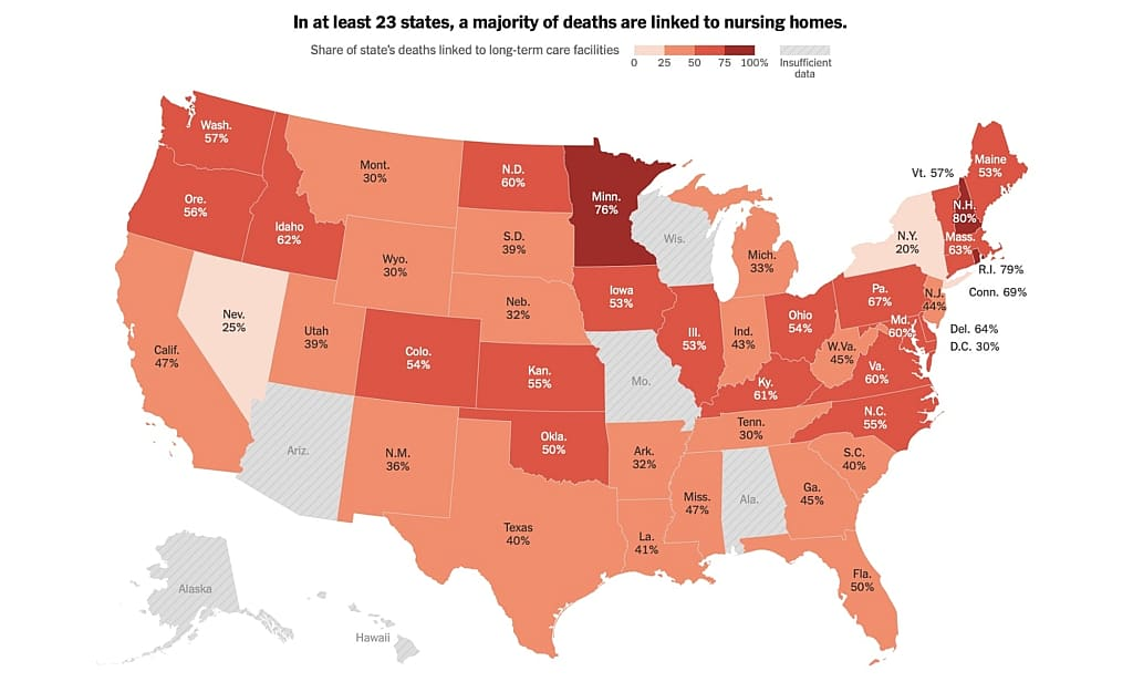 New York Times USA Map with Nursing Home COVID-19 fatalities as a percent of total for that state