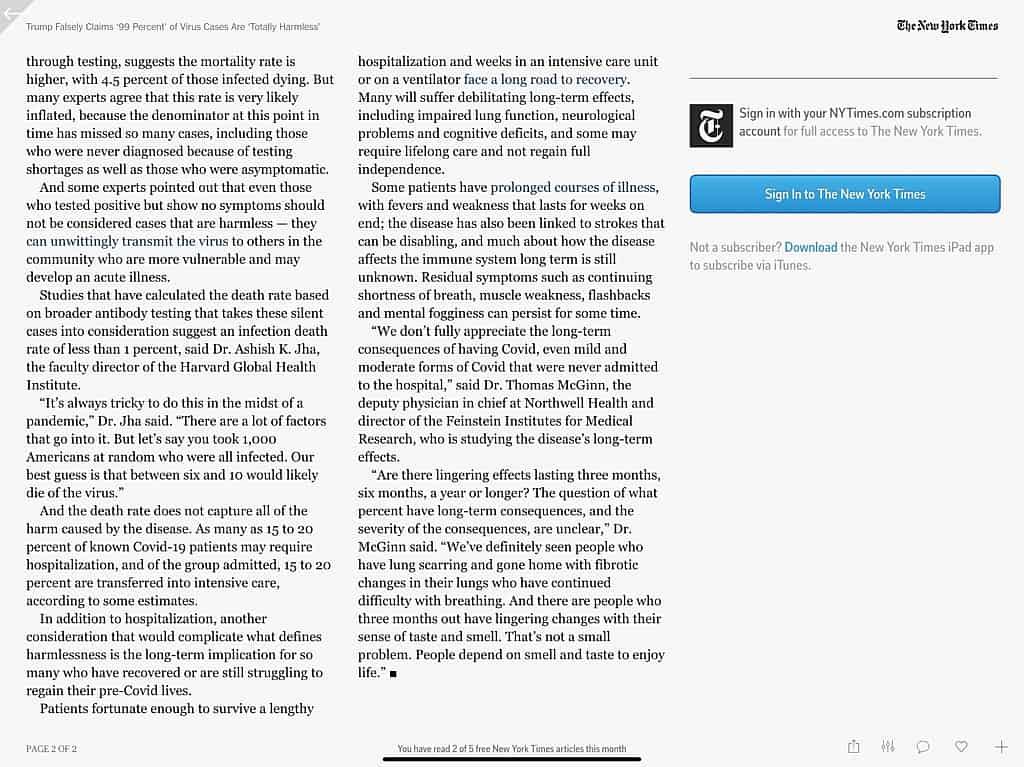 New York times Fact Check of Trump Claim Coronavirus 99% totally harmless Page 2