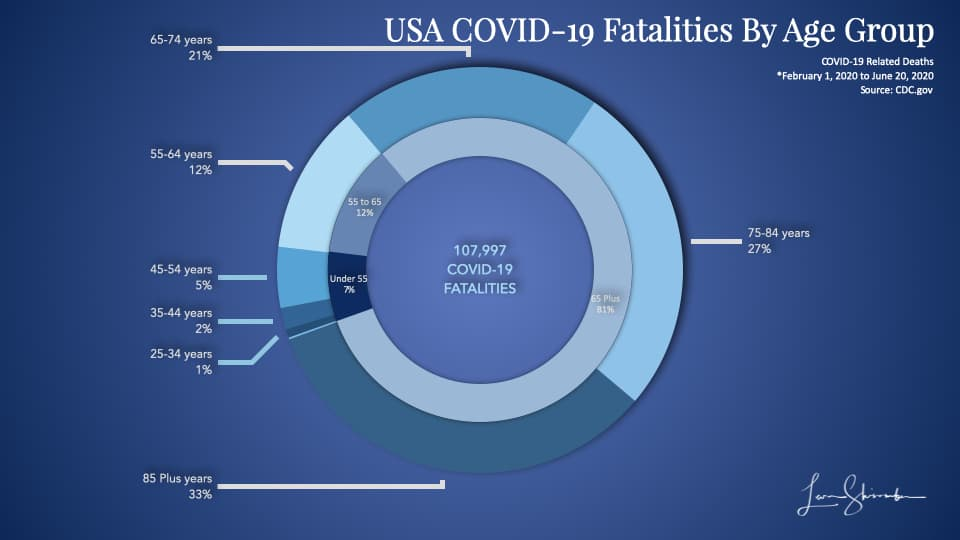 USA COVID-19 Fatalities by Age Group distribution pie chart