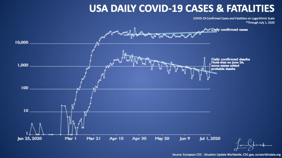 USA Daily COVID-19 Cases and Fatalities logaritmic scale