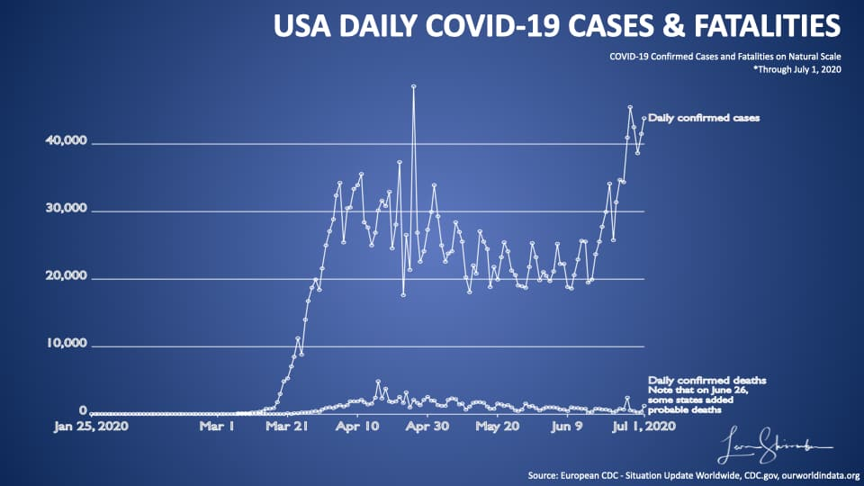 USA Daily COVID-19 Cases and Fatalities natural scale