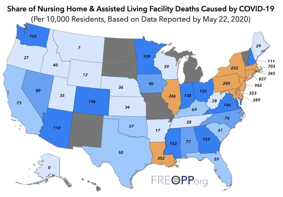 Forbes Blog Map COVID-19 Fatalities in Long Term Care Facilities Per thousand residents