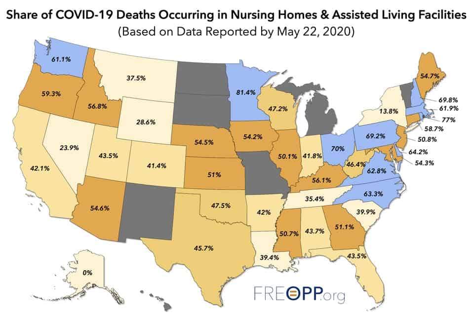 Forbes Blog Map COVID-19 Fatalities in Long Term Care Facilities as percent of fatalities in state