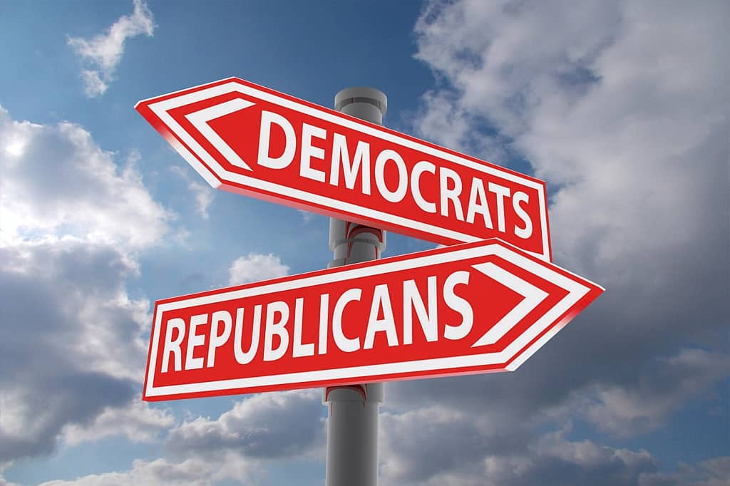 Divided Government - Democrats to left, Republicans to right